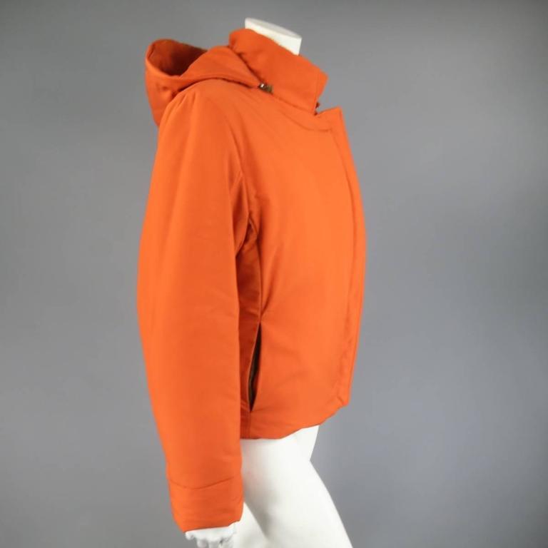 Women's LORO PIANA Jacket - Size 12 Orange Nylon Padded Storm System Hood Ski Coat For Sale