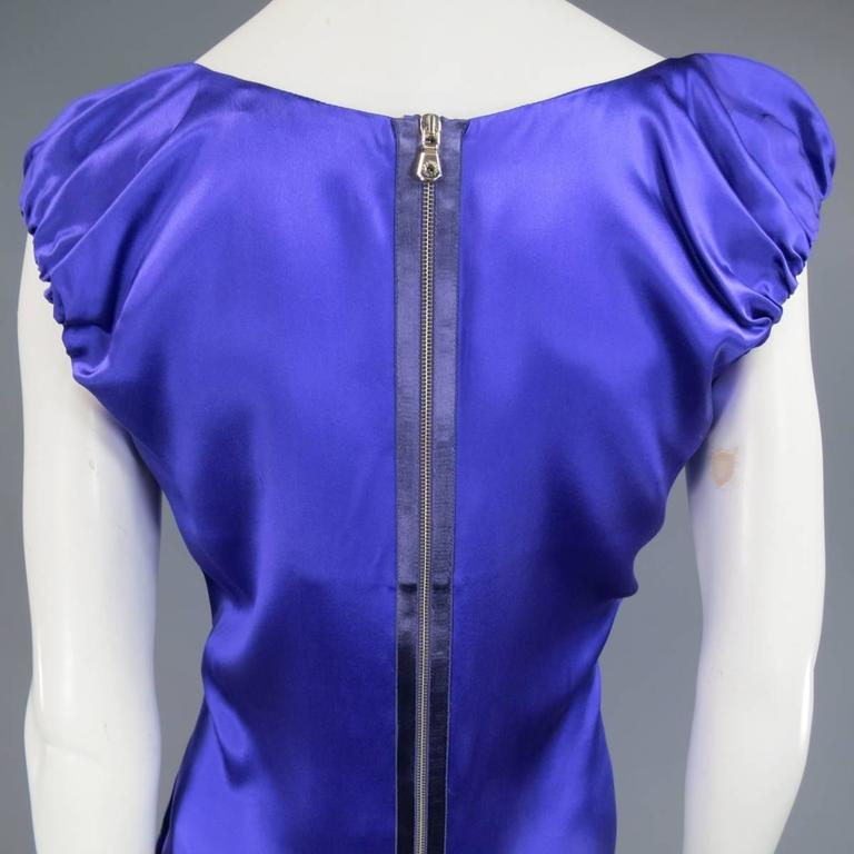 DOLCE & GABBANA Dress US 4 Purple Silk Satin A Line Short Puff Sleeve Cocktail For Sale 3
