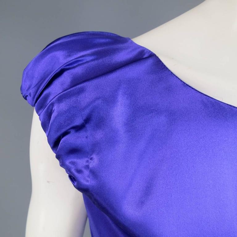 Women's DOLCE & GABBANA Dress US 4 Purple Silk Satin A Line Short Puff Sleeve Cocktail For Sale