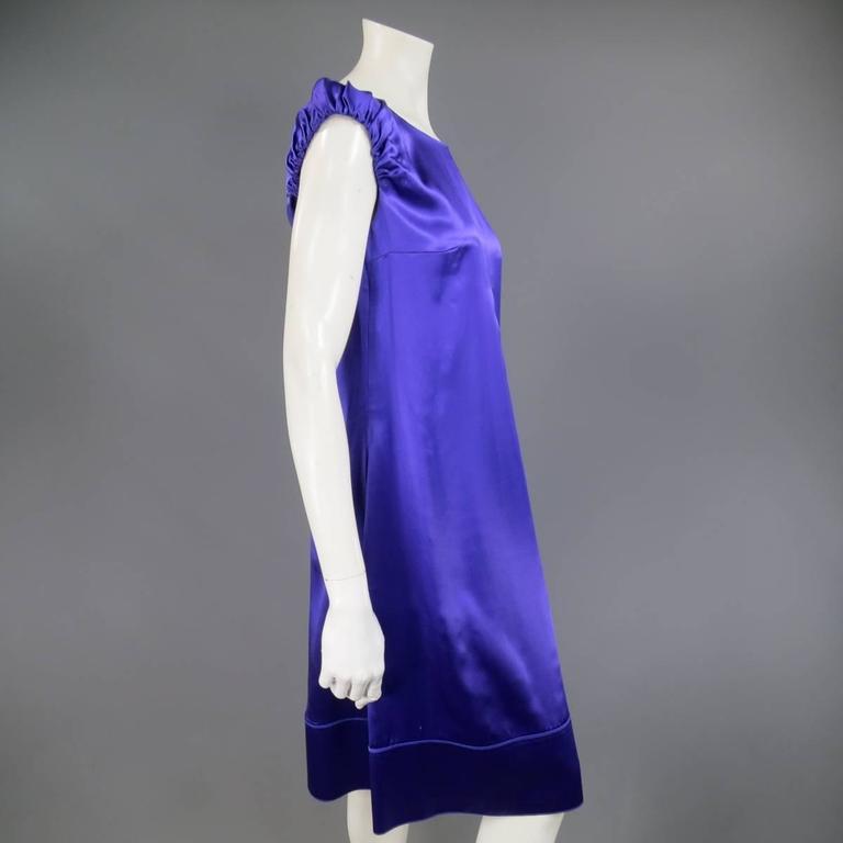 DOLCE & GABBANA Dress US 4 Purple Silk Satin A Line Short Puff Sleeve Cocktail For Sale 1
