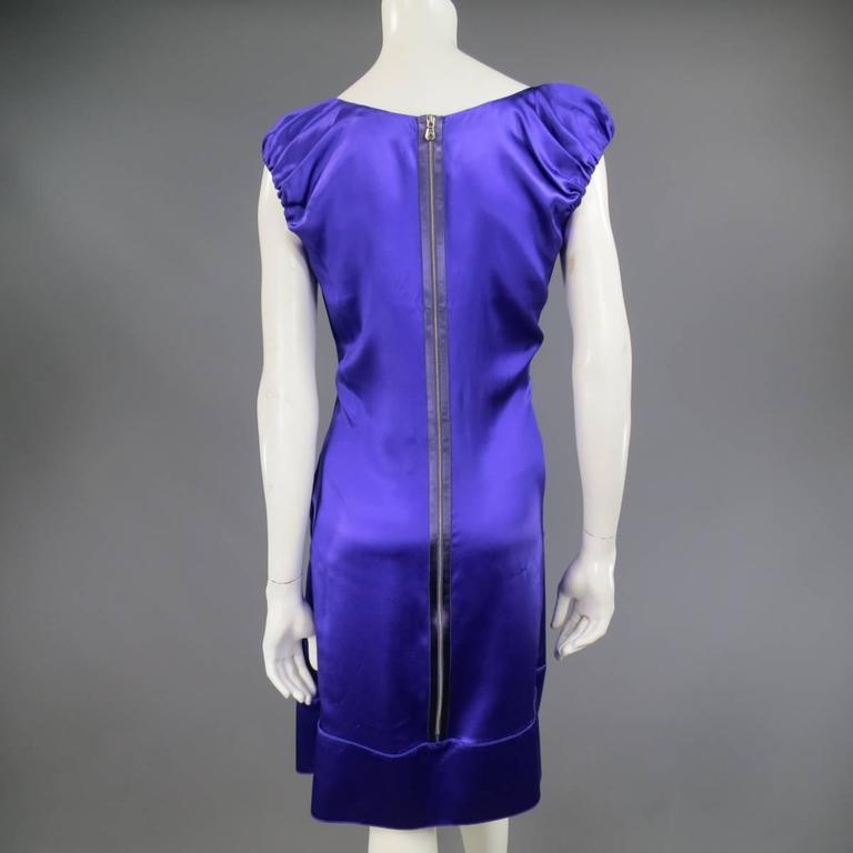DOLCE & GABBANA Dress US 4 Purple Silk Satin A Line Short Puff Sleeve Cocktail For Sale 2