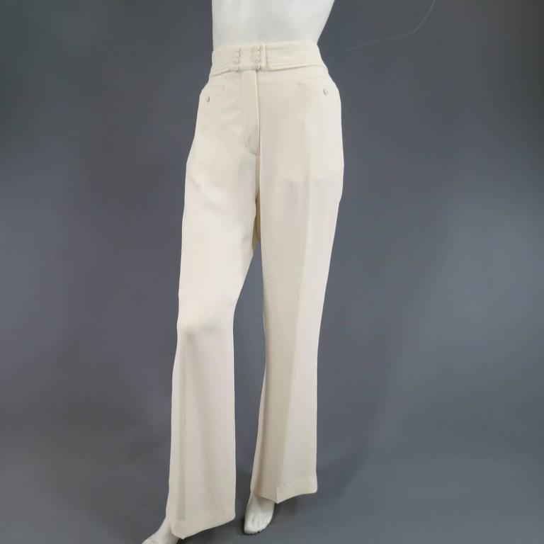 VIKTOR & ROLF Size 6 Off White Silk Tuxedo Style Pleated Bib Pants Suit 7