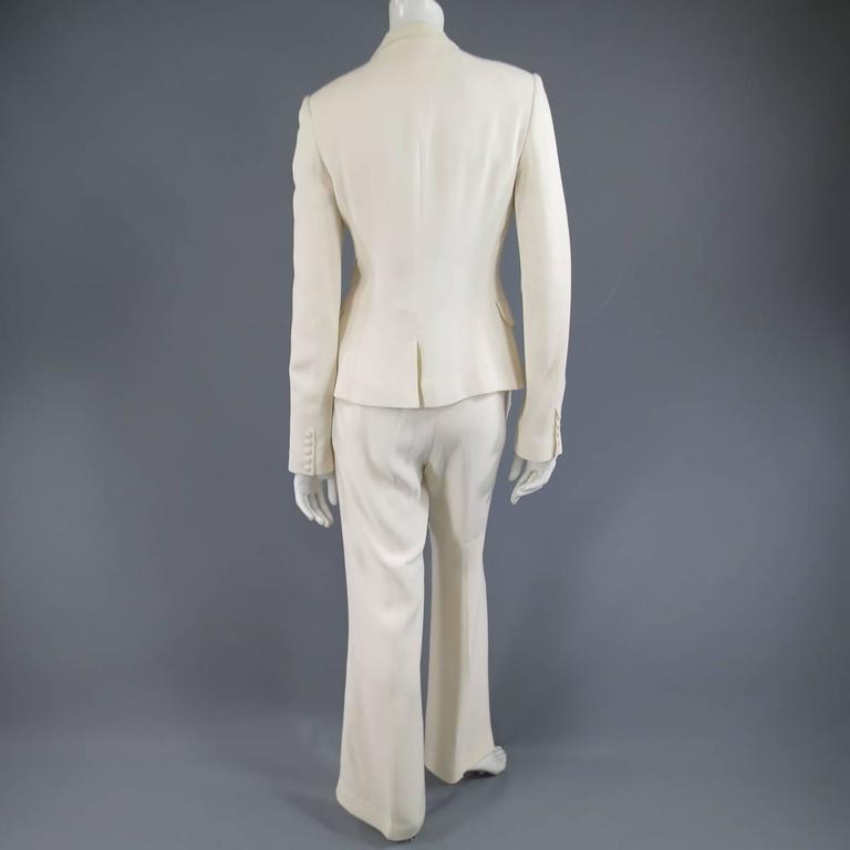 VIKTOR & ROLF Size 6 Off White Silk Tuxedo Style Pleated Bib Pants Suit 6