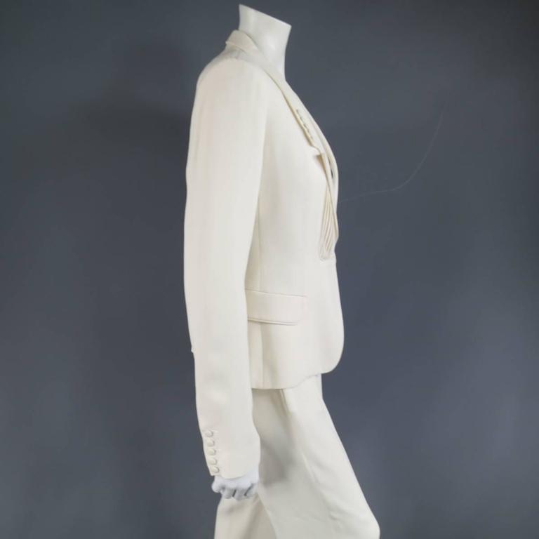 VIKTOR & ROLF Size 6 Off White Silk Tuxedo Style Pleated Bib Pants Suit 5