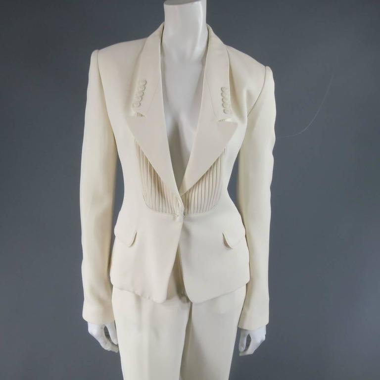 VIKTOR & ROLF Size 6 Off White Silk Tuxedo Style Pleated Bib Pants Suit 2