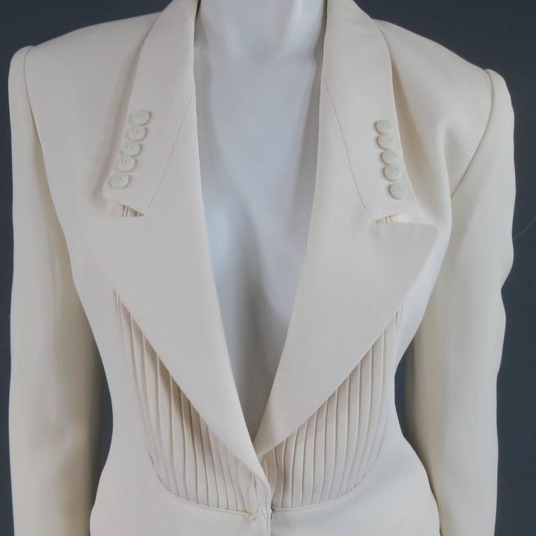 VIKTOR & ROLF Size 6 Off White Silk Tuxedo Style Pleated Bib Pants Suit 3