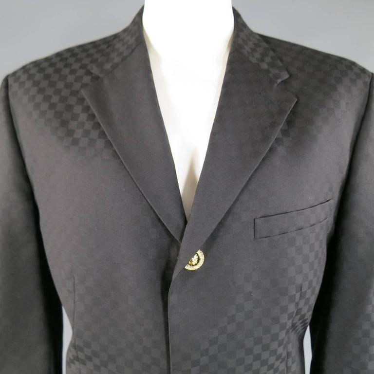 d8c67faefd7 GIANNI VERSACE 44 Black Checkered Wool Gold Rhinestone Lion Head ...