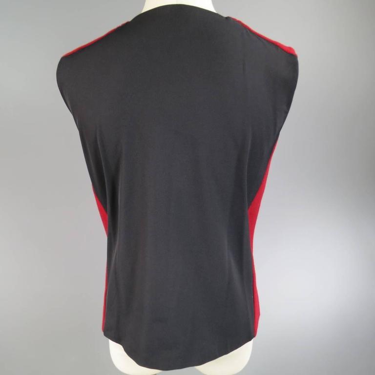 Men's JIL SANDER Size M Burgundy & Black Wool Blend Sleeveless Crewneck Vest In Excellent Condition For Sale In San Francisco, CA
