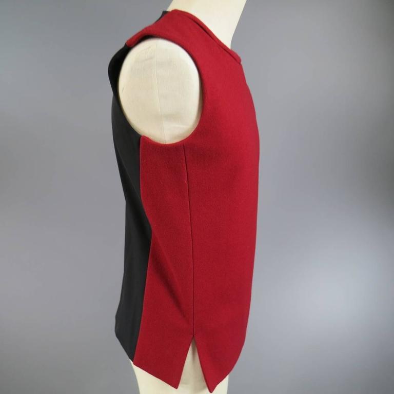 Red Men's JIL SANDER Size M Burgundy & Black Wool Blend Sleeveless Crewneck Vest For Sale