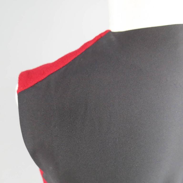 Men's JIL SANDER Size M Burgundy & Black Wool Blend Sleeveless Crewneck Vest For Sale 1