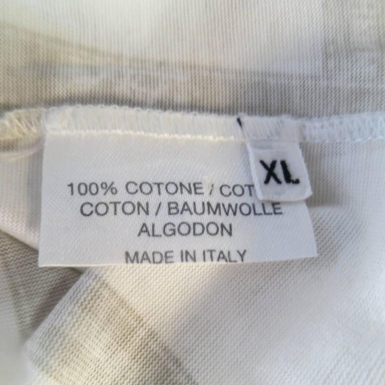 Men's HERMES Size XL White & Taupe Bolduc Ribbon Print Cotton T-shirt For Sale 3