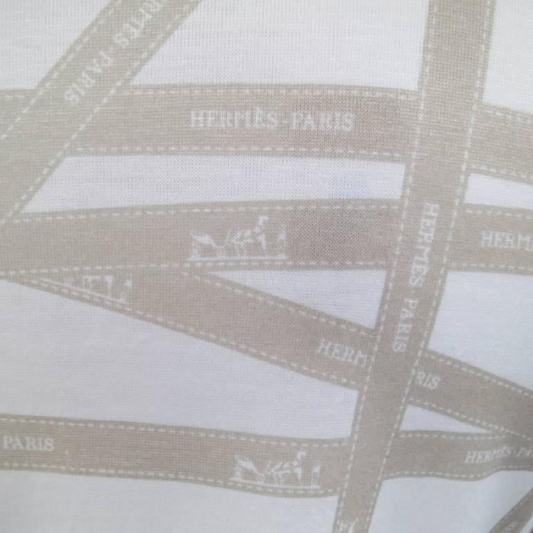 Gray Men's HERMES Size XL White & Taupe Bolduc Ribbon Print Cotton T-shirt For Sale