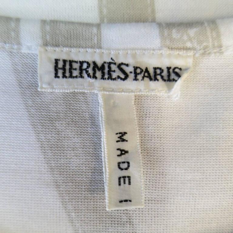 Men's HERMES Size XL White & Taupe Bolduc Ribbon Print Cotton T-shirt 9