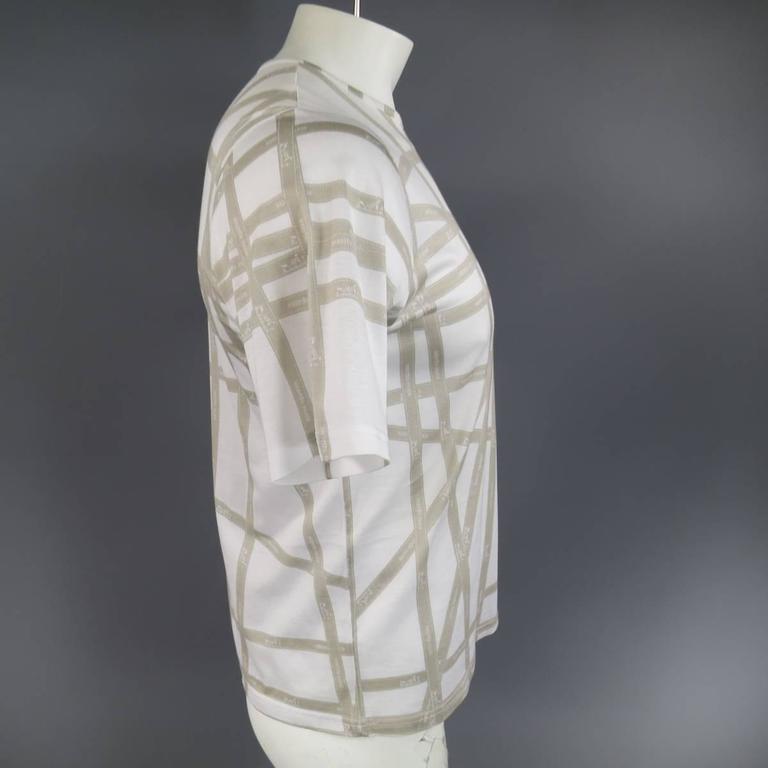 Women's or Men's Men's HERMES Size XL White & Taupe Bolduc Ribbon Print Cotton T-shirt For Sale