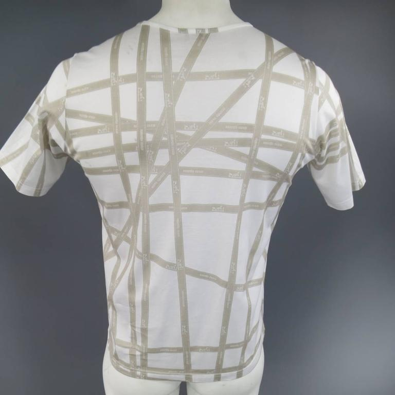 Men's HERMES Size XL White & Taupe Bolduc Ribbon Print Cotton T-shirt For Sale 1