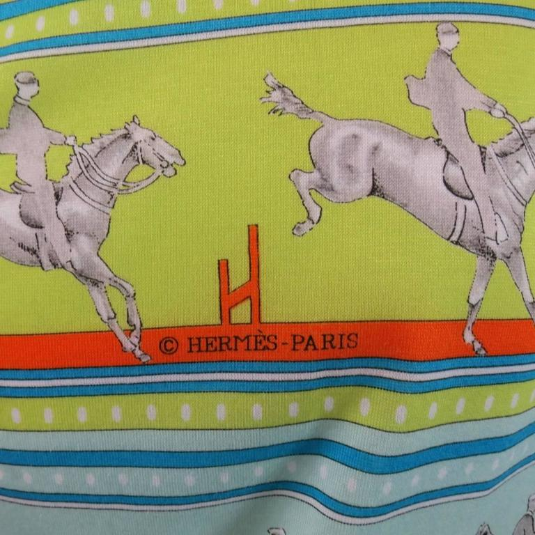 Men's HERMES Size XL Green Blue & Orange Striped Sequences Horse Print T-shirt 6