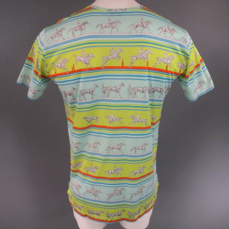 Men's HERMES Size XL Green Blue & Orange Striped Sequences Horse Print T-shirt 8