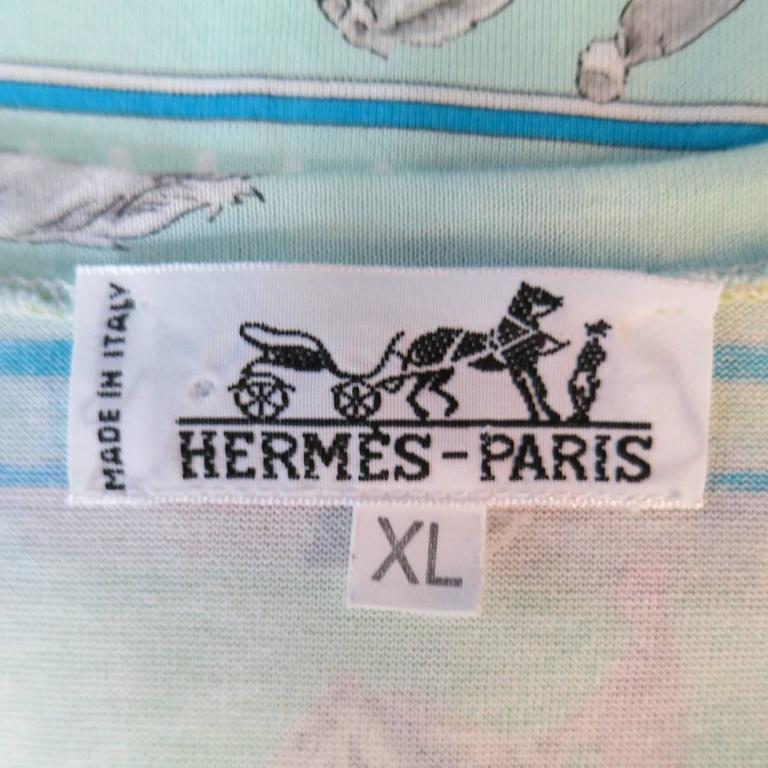 Men's HERMES Size XL Green Blue & Orange Striped Sequences Horse Print T-shirt 9