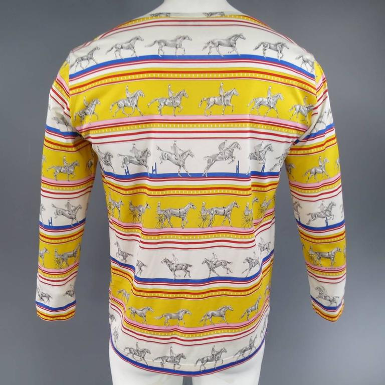 HERMES XL Yellow Red & Blue Striped Sequinces Horse Print Long Sleeve T-Shirt For Sale 1