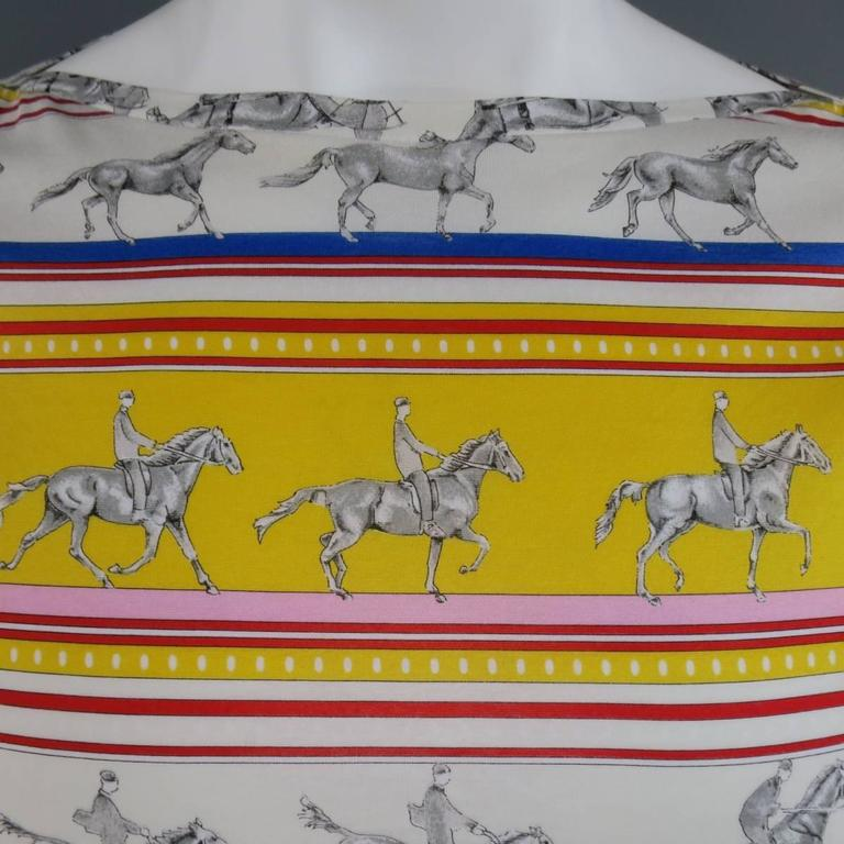 HERMES XL Yellow Red & Blue Striped Sequinces Horse Print Long Sleeve T-Shirt For Sale 2