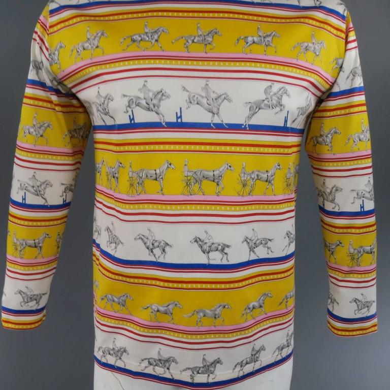 Beige HERMES XL Yellow Red & Blue Striped Sequinces Horse Print Long Sleeve T-Shirt For Sale