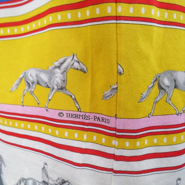 HERMES XL Yellow Red & Blue Striped Sequinces Horse Print Long Sleeve T-Shirt For Sale 3