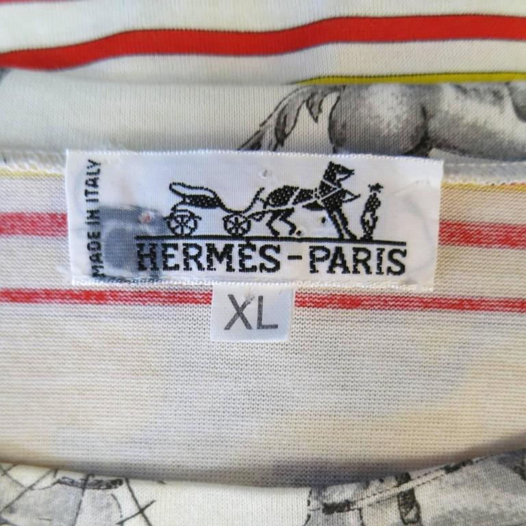 HERMES XL Yellow Red & Blue Striped Sequinces Horse Print Long Sleeve T-Shirt For Sale 4