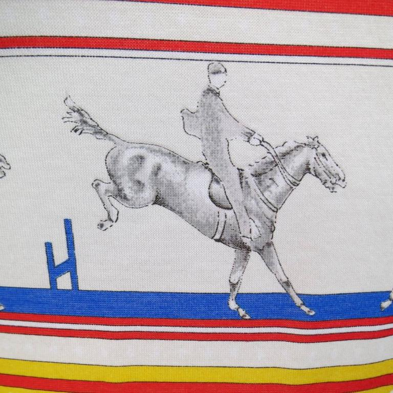 Women's or Men's HERMES XL Yellow Red & Blue Striped Sequinces Horse Print Long Sleeve T-Shirt For Sale