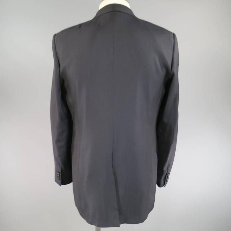 Men's BALENCIAGA 38 Regular Midnight Navy Double Breasted Peak Lapel Sport Coat For Sale 1