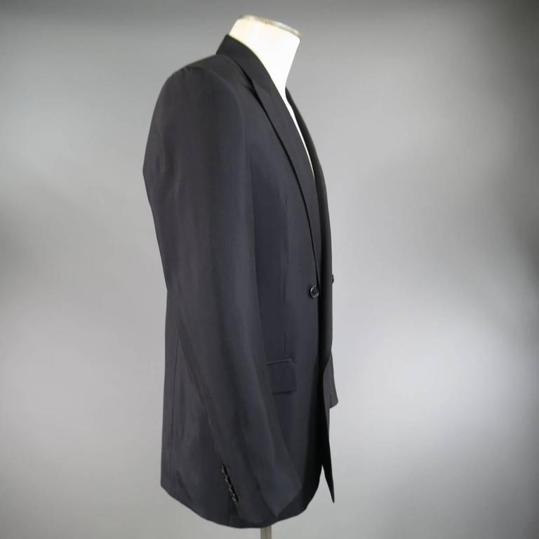 Men's BALENCIAGA 38 Regular Midnight Navy Double Breasted Peak Lapel Sport Coat 4