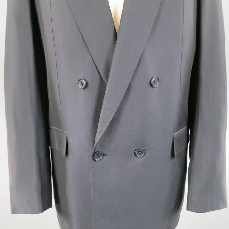Black Men's BALENCIAGA 38 Regular Midnight Navy Double Breasted Peak Lapel Sport Coat For Sale