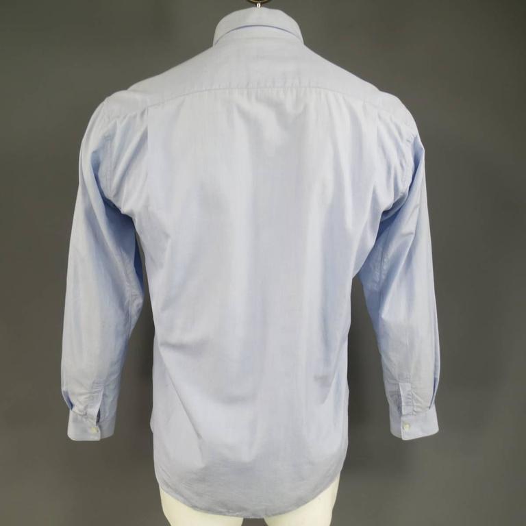 COMME des GARCONS Size M Light Blue Color Block Panel Cotton Long Sleeve Shirt 7
