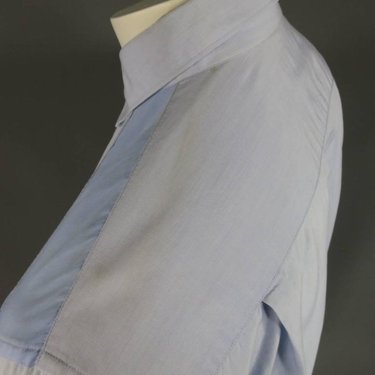 COMME des GARCONS Size M Light Blue Color Block Panel Cotton Long Sleeve Shirt 4