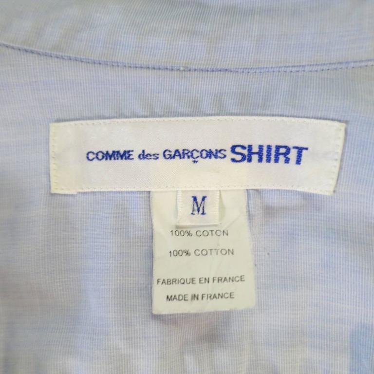 COMME des GARCONS Size M Light Blue Color Block Panel Cotton Long Sleeve Shirt 8