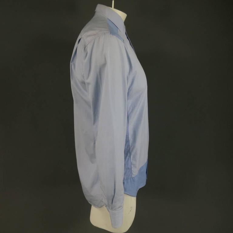 COMME des GARCONS Size M Light Blue Color Block Panel Cotton Long Sleeve Shirt 5