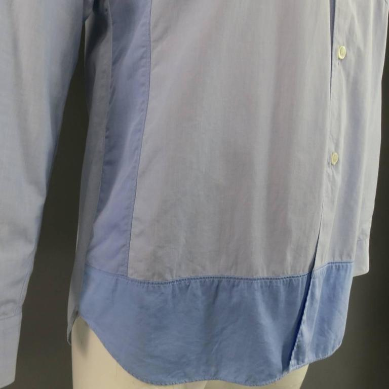 COMME des GARCONS Size M Light Blue Color Block Panel Cotton Long Sleeve Shirt 3