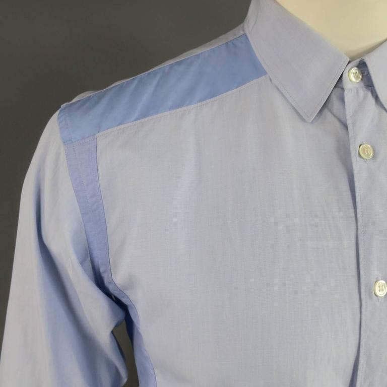 COMME des GARCONS Size M Light Blue Color Block Panel Cotton Long Sleeve Shirt 2