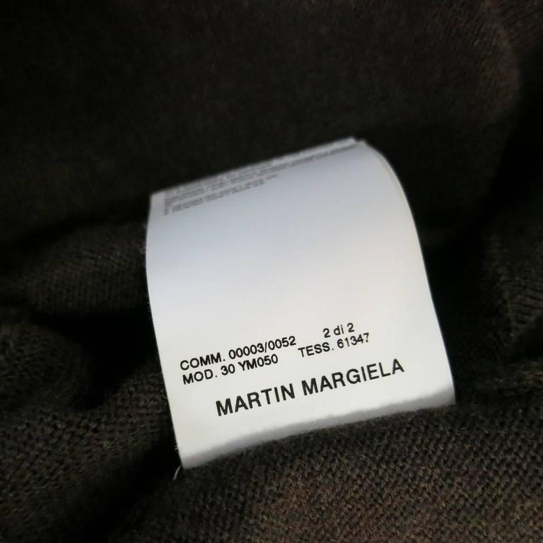 MAISON MARTIN MARGIELA L Brown Heather Wool V Neck Back Stitch Pullover Sweater 8