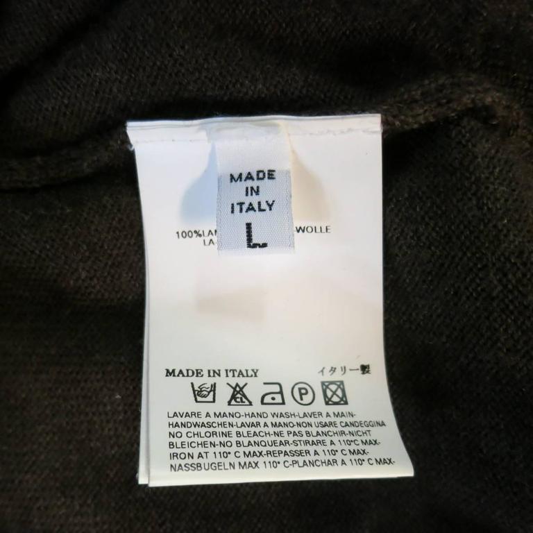 MAISON MARTIN MARGIELA L Brown Heather Wool V Neck Back Stitch Pullover Sweater 9