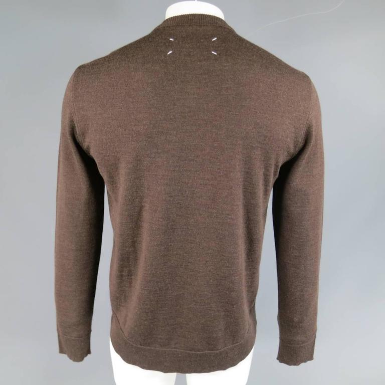 MAISON MARTIN MARGIELA L Brown Heather Wool V Neck Back Stitch Pullover Sweater 5