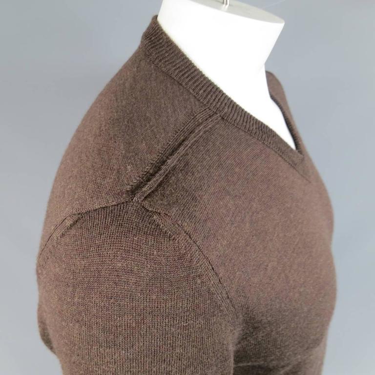 MAISON MARTIN MARGIELA L Brown Heather Wool V Neck Back Stitch Pullover Sweater 3