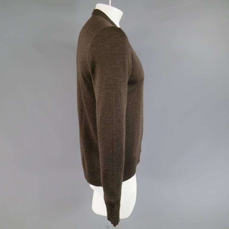 MAISON MARTIN MARGIELA L Brown Heather Wool V Neck Back Stitch Pullover Sweater 4