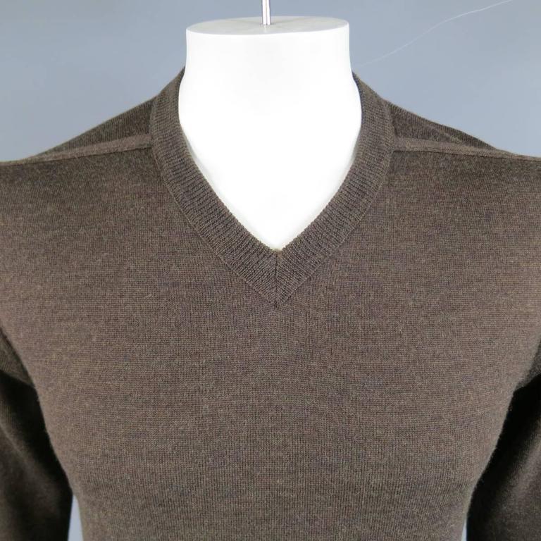 MAISON MARTIN MARGIELA L Brown Heather Wool V Neck Back Stitch Pullover Sweater 2