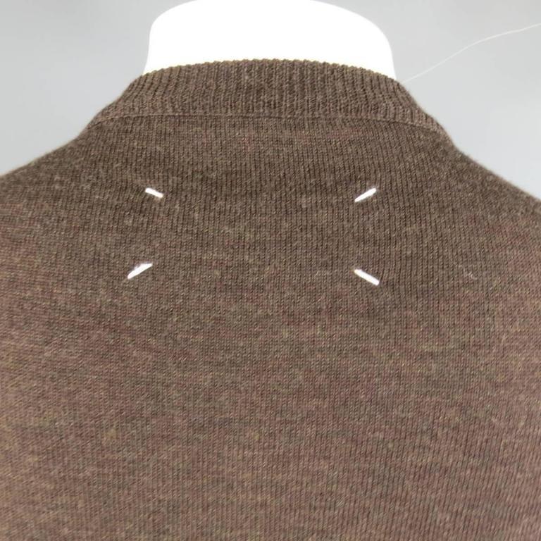 MAISON MARTIN MARGIELA L Brown Heather Wool V Neck Back Stitch Pullover Sweater 6