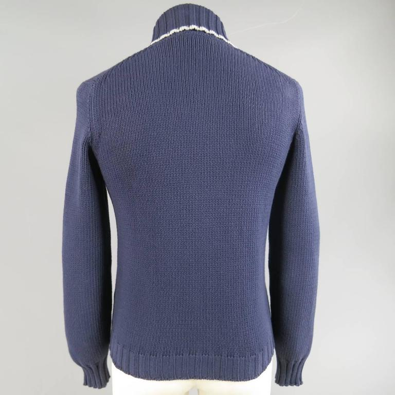 Brunello Cucinelli Men's Navy Cotton Blend Collared Cardigan, Size XS  For Sale 1