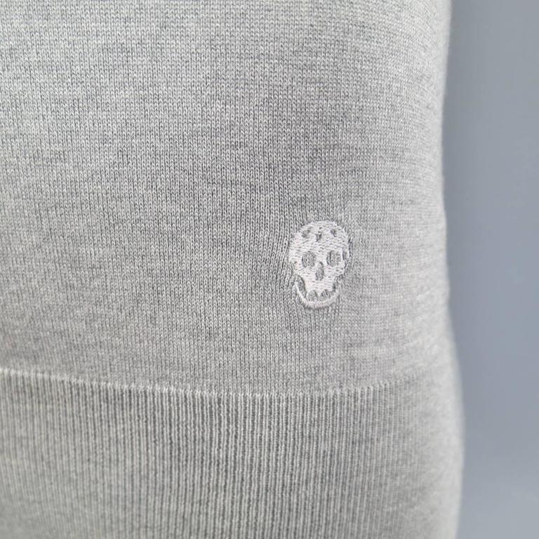 Alexander McQueen Size L Gray Silk / Cashmere Skull Embroidered Cardigan In Good Condition For Sale In San Francisco, CA