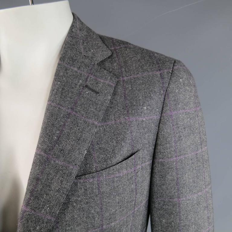 Men S Pal Zileri 40 Light Grey Purple Windowpane Wool