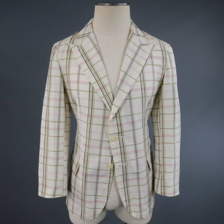 Men's BOTTEGA VENETA 38 Short Cream Cotton / Silk Brown & Pink Plaid Sport Coat 3