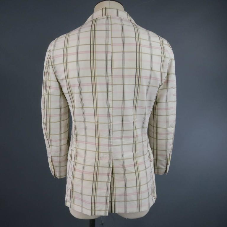 Men's BOTTEGA VENETA 38 Short Cream Cotton / Silk Brown & Pink Plaid Sport Coat 4