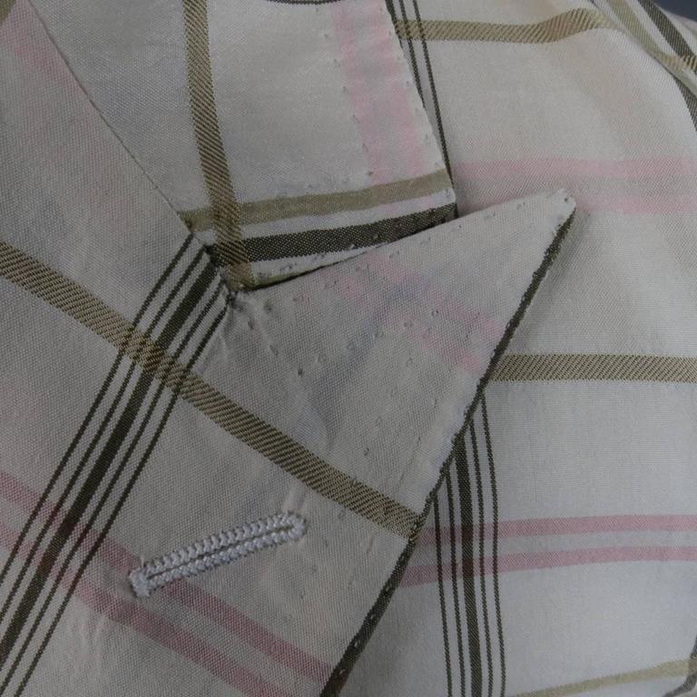 Men's BOTTEGA VENETA 38 Short Cream Cotton / Silk Brown & Pink Plaid Sport Coat 7